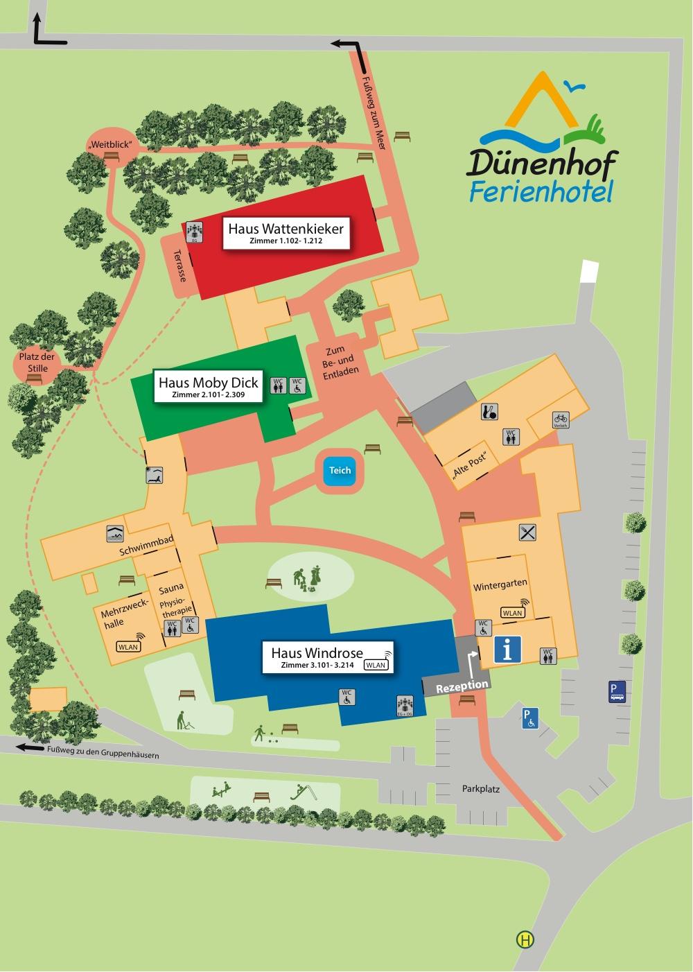 Dünenhof Ferienhotel Lageplan
